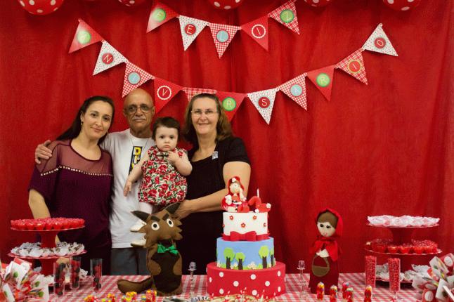 Painel, bolo e família!